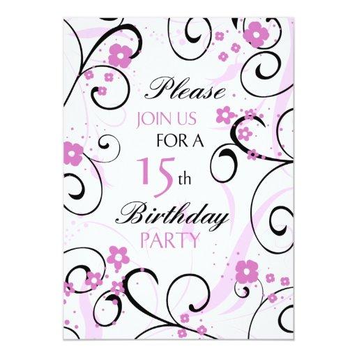Pink Swirls 15th Birthday Party Invitation Card
