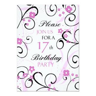 Pink Swirls 17th Birthday Party Invitation Card