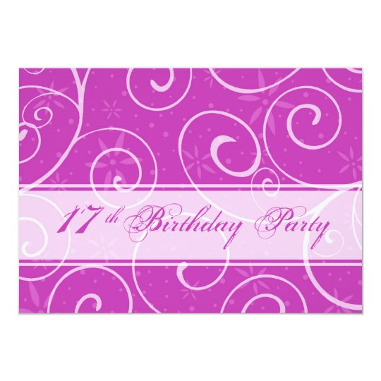 Pink Swirls 17th Birthday Party Invitation Cards