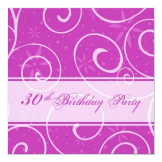 Pink Swirls 30th Birthday Party Invitation Cards