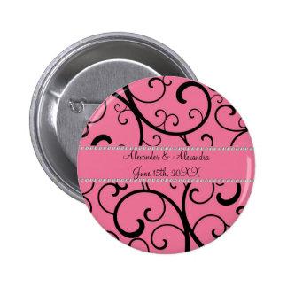 Pink swirls and diamonds wedding favors pins