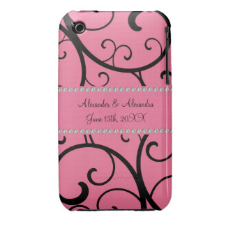 Pink swirls and diamonds wedding favors iPhone 3 cases