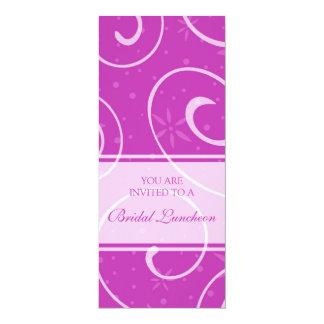"Pink Swirls Bridal Luncheon Invitation Cards 4"" X 9.25"" Invitation Card"