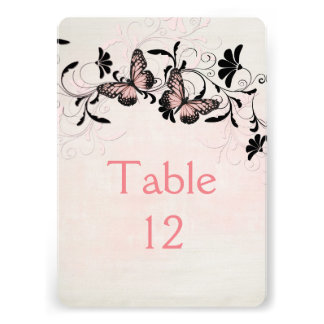 Pink Swirls Butterfly Romantic Table card