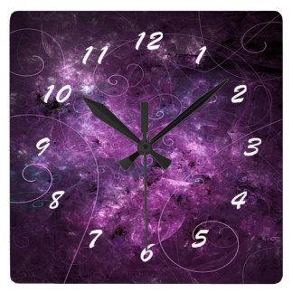 Pink Swirls Fractal Square Clock