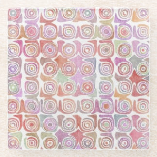 Pink Swirls Glass Coaster