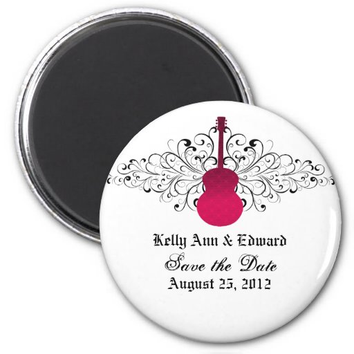 Pink Swirls Guitar Save the Date Magnet