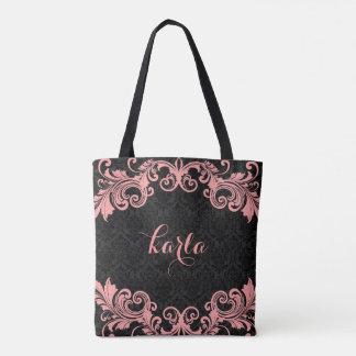 Pink Swirls Lace Black Damasks Background Tote Bag