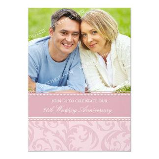 Pink Swirls Photo 20th Anniversary Invitation