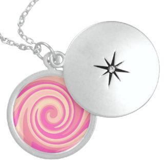 Pink Swirls Round Locket Necklace