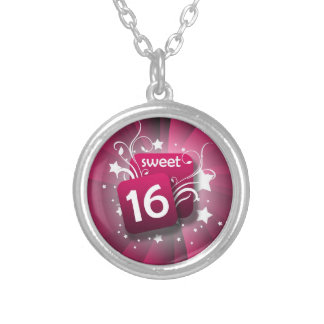 Pink Swirls Stars Sweet 16 Girls Birthday Silver Plated Necklace