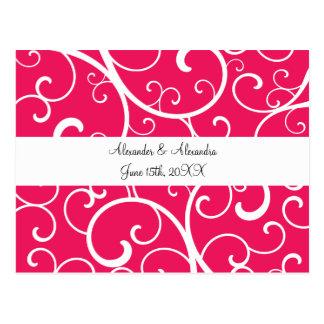 Pink swirls wedding favors postcard