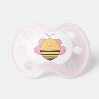Pink Swirly Bee Baby Pacifier