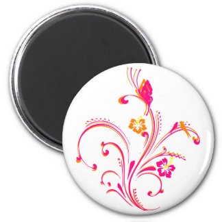Pink Swirly Butterfly 2 Inch Round Magnet