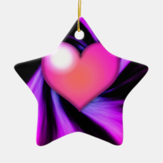 Pink Swirly Heart Ceramic Ornament