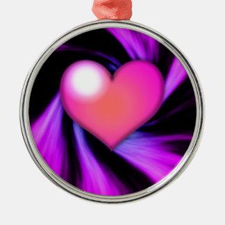 Pink Swirly Heart Metal Ornament