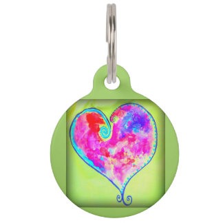 pink swirly heart pet ID tag
