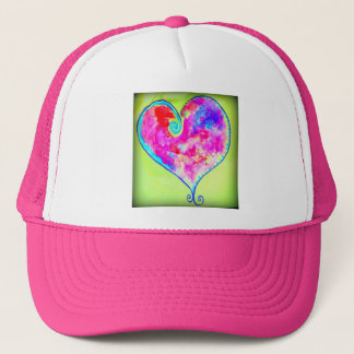 pink swirly heart trucker hat