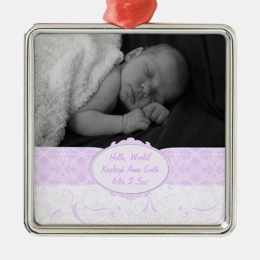Pink Swirly Lace Baby Photo Christmas Ornaments