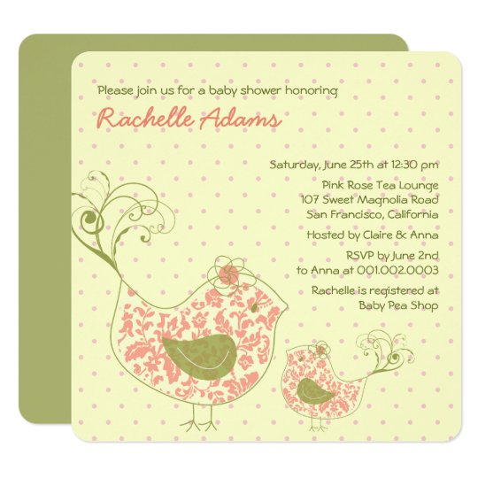 Pink Swirly Mom & Baby Bird Baby Shower Invitation