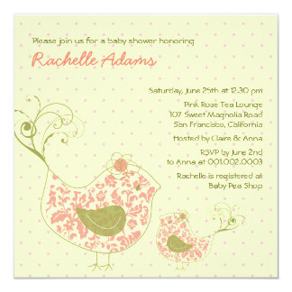 "Pink Swirly Mom & Baby Bird Baby Shower Invitation 5.25"" Square Invitation Card"
