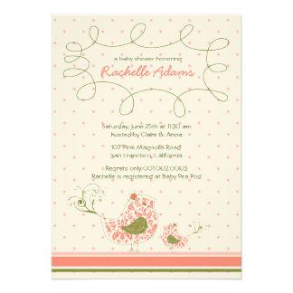 Pink Swirly Mom & Baby Bird Baby Shower Invitation Invite