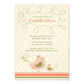 "Pink Swirly Mom & Baby Bird Baby Shower Invitation 5"" X 7"" Invitation Card"