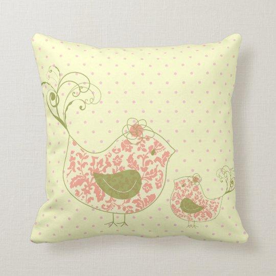Pink Swirly Mom & Baby Bird  Whimsical Cushion