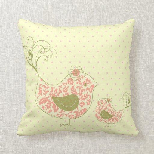 Pink Swirly Mom & Baby Bird  Whimsical Cushion Pillow