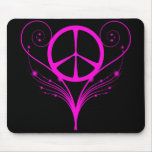 PINK SWIRLY PEACE SIGN MOUSE PAD