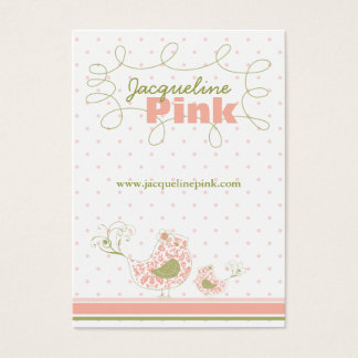 Pink Swirly Whimsical Birds Custom Business Card