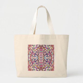 Pink Symmetrical Pattern Large Tote Bag