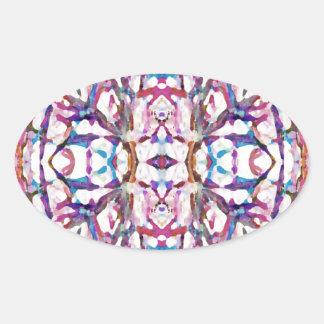 Pink Symmetrical Pattern Oval Sticker