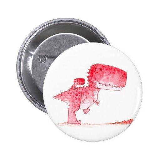 Pink T-Rex Button
