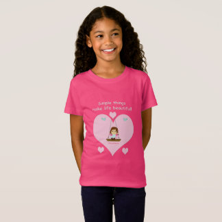 Pink T-shirt for girl with heart