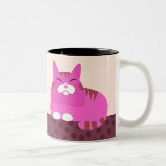 Pink Tabby Cat Two-Tone Coffee Mug
