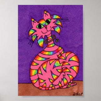 Pink Tabby Cat with Rainbow Stripes Mini Folk Art Poster
