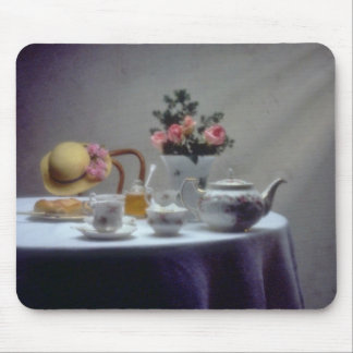 Pink Table set with tea and crumpet flowers Mouse Pad