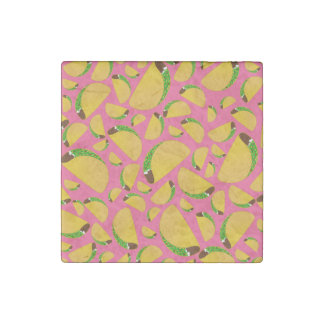 Pink tacos stone magnet