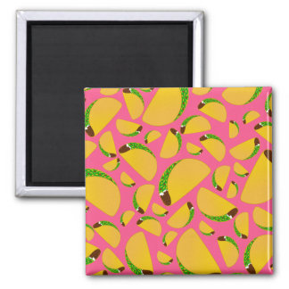 Pink tacos 2 inch square magnet