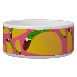 Pink tacos pet bowls