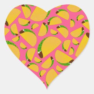 Pink tacos heart sticker