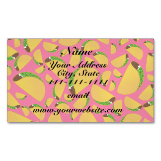 Pink tacos magnetic business cards (Pack of 25)