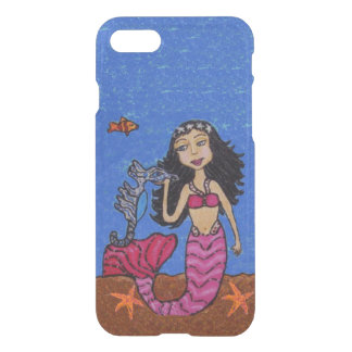 Pink Tailed Mermaid Silver Seahorse Starfish iPhone 7 Case