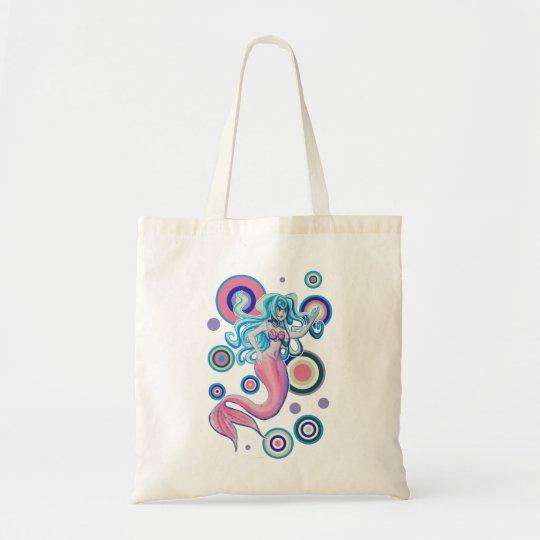 Pink Tailfin Mermaid Circles Design Tote Bag