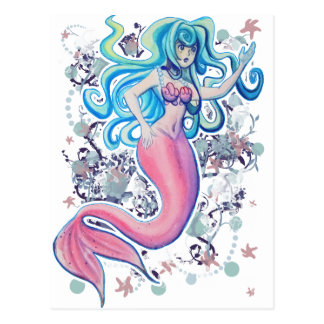 Pink Tailfin Mermaid Postcard