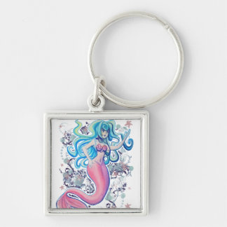 Pink Tailfin Mermaid Silver-Colored Square Keychain