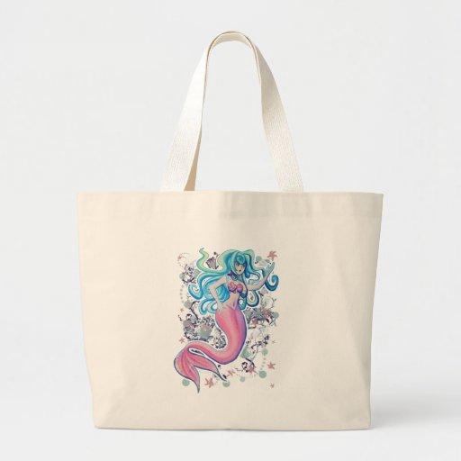 Pink Tailfin Mermaid Tote Bag