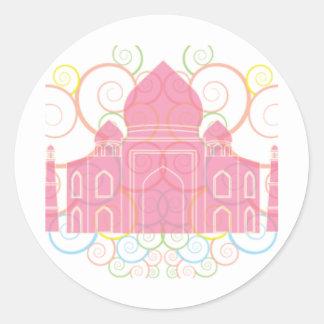 Pink Taj Mahal Classic Round Sticker