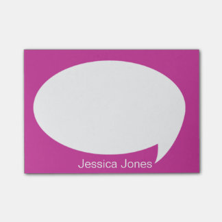 Pink Talk Bubble Rounded Personalized Post-it Notes